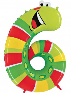 Riesiger Folienballon in Wurmform Zahl 6 grün/gelb/rot