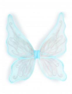 Kostümaccessoire Schmetterlingsflügel mit Glitzer hellblau-silber 70 x 32 cm