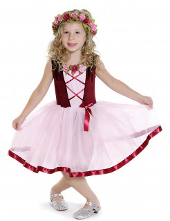 Mittelalterliche Prinzessin - Mädchen-Kostüm mit Tutu - rosa-bordeauxrot