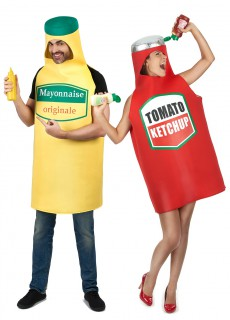 Lebensmittel-Paarkostüm Ketchup und Mayonnaise rot-gelb