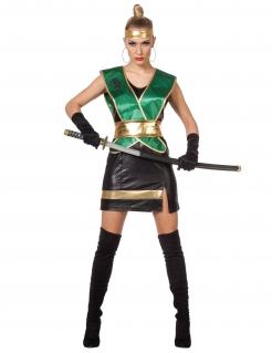 Ninja-Damenkostüm grün-schwarz-gold