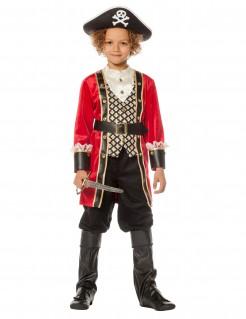 Tapferer Piratenkapitän Kinderkostüm rot-schwarz-gold