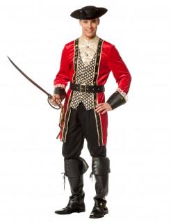 Furchtloser Piratenkapitän Herrenkostüm rot-schwarz-gold