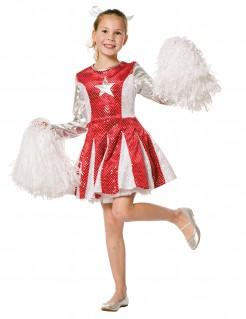 Kostüm Cheerleader für Mädchen rot-silber