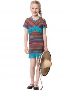 Kleine Mexikanerin Mädchenkostüm blau-bunt