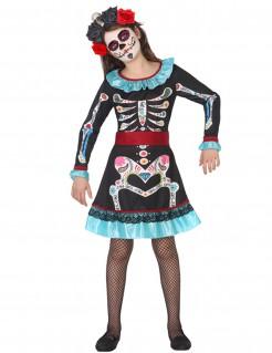 Dia de los Muertos Skelett-Kostüm für Mädchen blau