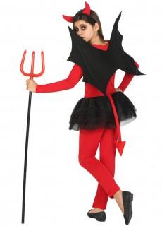 Teufelin Halloween-Kinderkostüm rot-schwarz