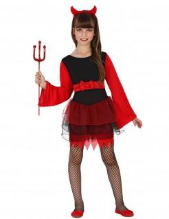 Halloween-Kinderkostüm Dämonin schwarz-rot