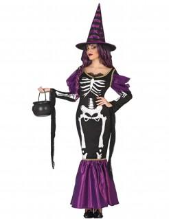 Halloween Hexenkostüm für Damen mit Skelettdruck schwarz-lila-weiss