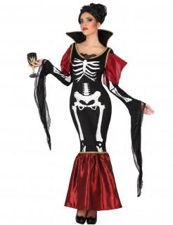 Skelett-Vampirin Halloween-Damenkostüm schwarz-weiss-rot