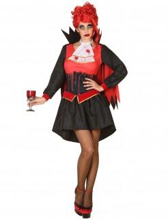 Damenkostüm Blutige Vampirin schwarz-rot-weiß