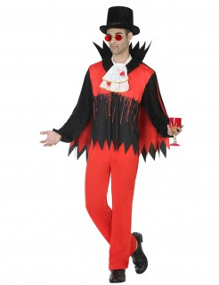 Blutiger Vampir Halloween-Herrenkostüm rot-schwarz