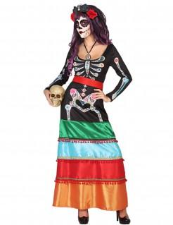Dia de los Muertos Halloween-Damenkostüm bunt