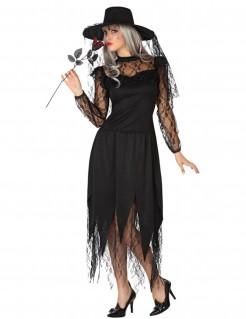 Damenkostüm mit Hut Hexe schwarz