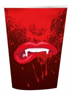 Halloweenbecher Vampir 6 Stück rot 10 cm