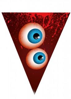 Halloween-Girlande Wimpelkette Augen rot-weiß-blau 190 cm