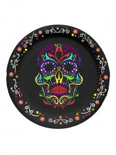 Dia de los Muertos Partyteller Halloween-Tischdeko 6 Stück schwarz-bunt 17cm