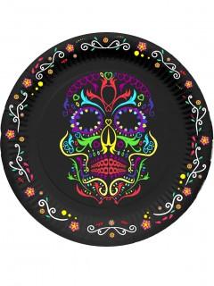 Dia de los Muertos Partyteller Halloween-Tischdeko 6 Stück bunt 23cm
