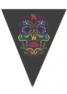 Tag der Toten Wimpelkette schwarz-bunt 190cm