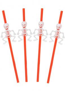 Halloween Strohhalme mit Skelettdetail 5 Stück orange-weiß 29 cm