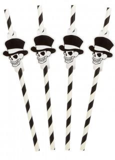 Halloween Strohhalme mit Totenkopfdetail 8 Stück schwarz-weiß 20 cm