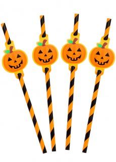 Halloween Strohhalme mit Kürbisdetail 8 Stück orange-schwarz 20cm
