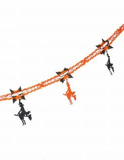 Halloweengirlande Hexen schwarz-orange 240cm