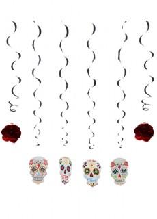 Skelett-Hängedeko Dia de los muertos 6 Stück 120 cm