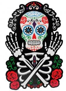 Tag der Toten Wanddekoration Skelett schwarz-bunt 38x25cm