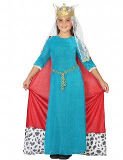 Mittelalterliche Königin - Kostüm für Mädchen hellblau und rot