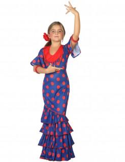 Flamenco-Kinderkostüm für Mädchen blau-rot