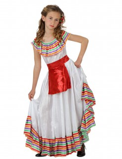Mexikanerin-Kostüm für Mädchen weiß-bunt