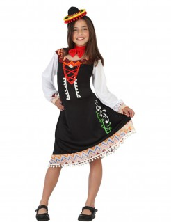 Mexikanerin-Kinderkostüm schwarz-bunt