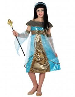 Ägypterin-Kinderkostüm für Mädchen blau-gold