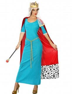 Königinnen-Kostüm für Damen hellblau und rot