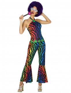 70er Jahre Disco-Kostüm mit Tiger-Print für Damen bunt
