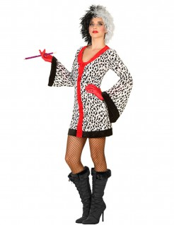 Damenkostüm Dalmatiner weiß-schwarz-rot