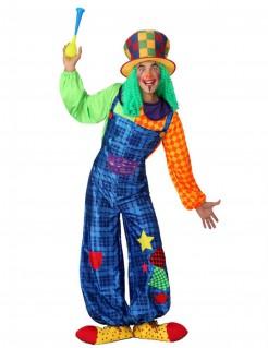Clown-Kostüm mit Patchwork für Erwachsene blau