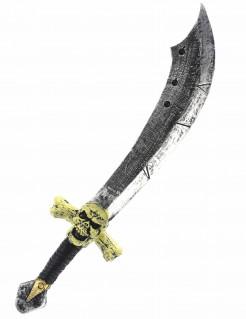 Piraten-Säbel mit Totenschädel Piratenschwert silber-braun-gelb 69cm