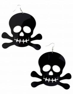 Totenkopf Ohrringe Halloween Kostüm-Accessoire schwarz