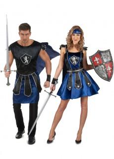 Ritter Paarkostüm für Erwachsene schwarz-blau