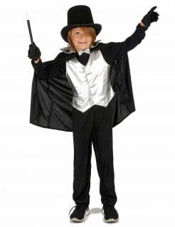 Kleiner Zauberer Magier Kinderkostüm für Jungen schwarz-silber