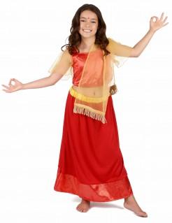 Kleine Bollywood Prinzessin Kinderkostüm für Mädchen rot-gold
