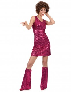 Sexy Paillettenkleid Disco-Damenkostüm 70er-Outfit pink