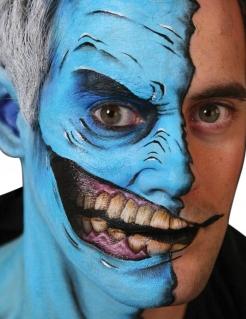Halloween Hauttattoo Halbes Gesicht weiß