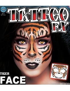 Tigergesicht-Tattoo orange-schwarz