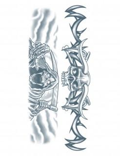 Halloween-Tattoos Sensenmann 2-teilig grau