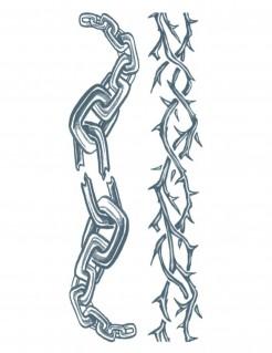 Tattoo-Set Dornen und Ketten 2-teilig grau