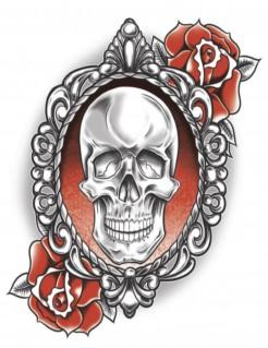 Totenkopf-Tattoo mit Rosen weiss-grau-orange 7x10cm