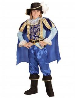 Pompöses Prinzenkostüm für Jungen Märchenprinz-Kinderkostüm blau-gold